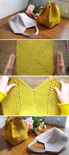 Crochet Design, Crochet Diy, Crochet Tote, Crochet Handbags, Crochet Purses, Learn To Crochet, Crochet Crafts, Crochet Stitches, Crochet Patterns