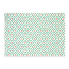 mint coral ikat pattern rug