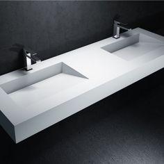 Slot xl in corian by nevio tellatin for antonio lupi interior bathroom - Plan double vasque verre trempe ...