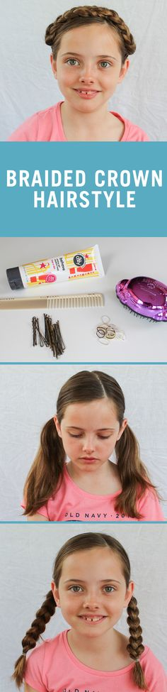 This easy DIY braided crown updo is the perfect way to keep your daughter's hair in check for back-to-school. Follow the tutorial and keep some bobby pins on hand to complete this look.
