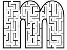 Laberintos en forma de letras. Disponible todo el alfabeto!