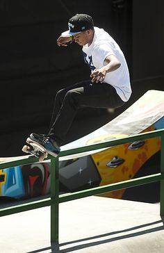 Chaz Ortiz skates in the men's skateboard street final at the X Games Los Angeles on Sunday, July 1 ,2012. (SGVN/Staff photo by Watchara Phomicinda)