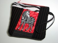 Zippered Clutch, Quilted Wristlet, Cell Phone Purse, Black and Melon Zebra , Quiltsy Handmade by VillageQuilts on Etsy