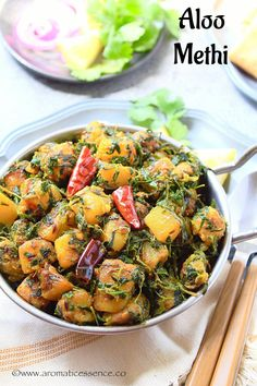 Aloo methi recipe with step-by-step pictures. How to prepare aloo methi, a simple yet delicious and wholesome vegetarian preparation. Aloo Methi Recipe, Methi Recipes, Curry Recipes, Vegetable Recipes, Vegetarian Curry, Vegetarian Recipes, Cooking Recipes, Healthy Recipes, Comida India