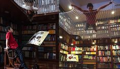 Suspended Net In A Library Lets Kids Read And Relax From Up High - DesignTAXI.com