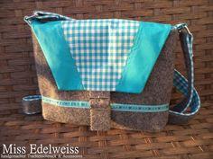*HANDMADE* Trachtentasche Filz Tasche türkis grau für Dirndl Wiesn Oktoberfest