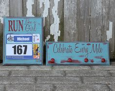 Running Medal Holder and Race Bib Holder in distresed turqouise and red finish- Run Like A Girl and Celebrate Every Mile.