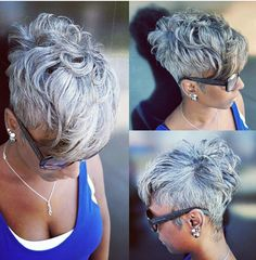 She makes me want to cut off my hair! When you're just born with it , own it! Young and Grey ☀ Short Sassy Hair, Short Grey Hair, Short Hair Cuts, Pixie Cuts, My Hairstyle, Cool Hairstyles, Hairstyles Videos, Formal Hairstyles, Ponytail Hairstyles