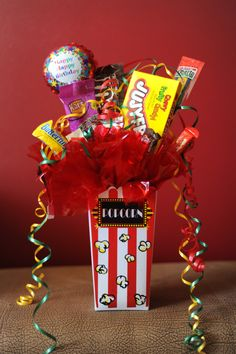 Movie Bouquet Candy Bar Bouquet, Chewy Candy, Homemade Gifts, Gift Baskets, Cute Gifts, Party Planning, Birthday Candles, Bouquets, Sweet Treats