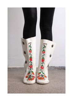 These look so comfy!!  Beaded Leather Boots 60s Vintage White Knee High Leather Moccasins
