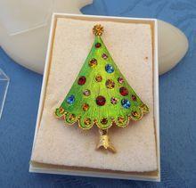 Rhinestone CHRISTMAS Tree Pin, Original Box