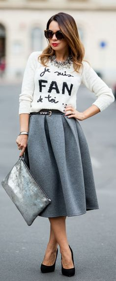 Grey Midi + Graphic Sweater