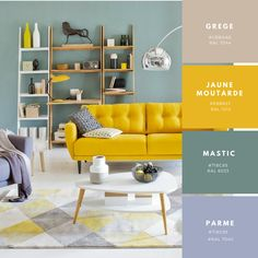 New living room decor yellow couch spaces ideas New Living Room, Living Room Sofa, Apartment Living, Interior Design Living Room, Home And Living, Living Room Designs, Living Room Decor, Living Room Yellow, Deco Design