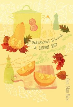 Butternut squash & carrot soup — Ohn Mar Win Illustration