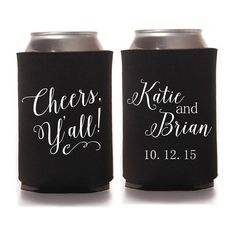 Personalized Wedding Koozies - Cheers Y'all Southern Wedding Favors for Guests, Personalized Reception Favors, Fall Wedding, Country Wedding Can Cozies