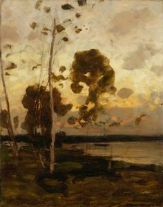Victor Axel Westerholm, Sunset Landscape from Åland, Helene Schjerfbeck, Forest Art, Dark Forest, Martin Johnson Heade, Thomas Moran, Hudson River School, Detailed Paintings, Nordic Art, Sunset Landscape