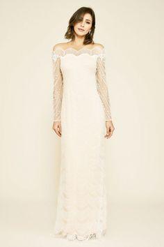 Tadashi Shoji Bogan Long-Sleeve Embroidered Gown