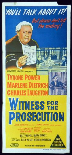 WITNESS FOR THE PROSECUTION 1957 Movie Poster Marlene Dietrich Australian daybill - Witness for the Prosecution. Movie Poster, Australian Daybill, Billy Wilder, Tyrone Power, Marlene Dietrich, Charles Laughton, Elsa Lanchester, Agatha Christie