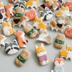 Polymer Clay Animals, Cute Polymer Clay, Cute Clay, Polymer Clay Charms, Diy Clay, Polymer Clay Figures, Clay Art Projects, Polymer Clay Projects, Clay Crafts