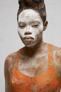 Bruno Walpoth - White Mask, nut wood, 2014