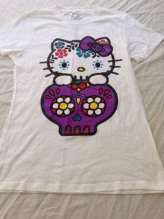 NWOT Hello Kitty Sanrio Hot Topic Sugar Skull Tshirt M Medium Glitter #HotTopic #GraphicTee