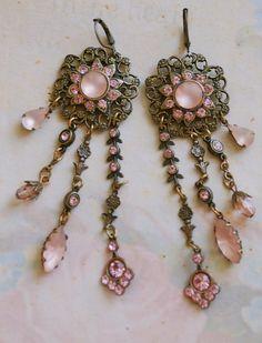 Vintage pink rhinestone flower long earringsboho by tiedupmemories, $18.00