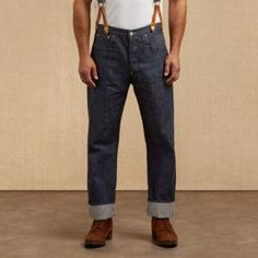 1920s mens blue jeans by Levis, designed in 1915