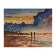 Stormy Sunset Beach Combing Watercolor Seascape Wood Canvas