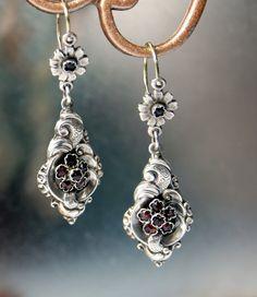 VICTORIAN  Garnet Earrings. Biedermeier Solid Silver Bohemian Garnets. - circa 1850 -1880's