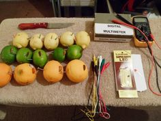 Materials: - 5 lemons, 5 limes, 5 oranges (regular sizes - soft) - 15 pennies or copper nails - 15 galvanized or zinc 2 inch nails - 2 volt red LED - 6 test ...