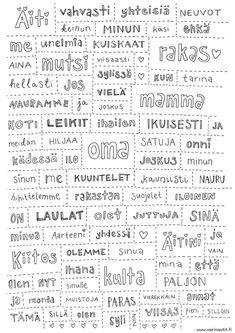 Finnish Language, Live Love, Kindergarten, Printables, Math Equations, Teaching, School, Cards, Scrapbooking
