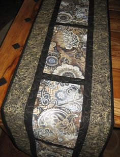 Gray Taupe Cream and Black Paisley Quilted Table Runner Handmade by TahoeQuilts on Etsy
