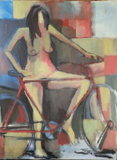 JocelynThomasse Le Velo Rouge Oil on canvas 80 x 60 cm available at 3A The Excellence of Art