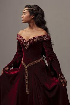 Battle Merchant Robe médiévale Cecilia avec Capuche Rouge