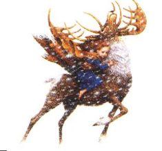 The Snow Queen. Gerda riding the reindeer.