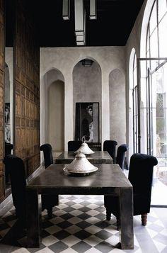 A whimsical riad in Marrakech - gray walls with a brown wood wall. A whimsical riad in Design Hotel, House Design, Design Marocain, Decor Interior Design, Interior Decorating, Interior Paint, Decorating Ideas, Moroccan Interiors, Amber Interiors
