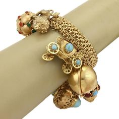 Vintage 18k Yellow Gold Multi-Gemstones Large Charm Sputnik Dimensional Bracelet