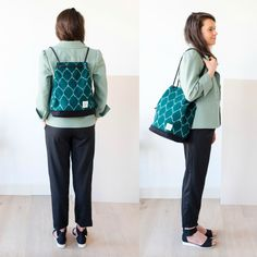 A two-in-one backpack and tote in ikat fabric. The Biennale Bag Turtle. Handmade in Amsterdam by Honey Clarke