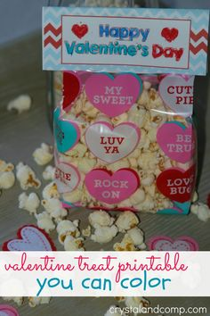 valentine printable treat bag topper that you little one can color