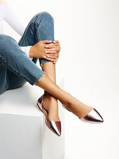 Cloud Dancer Flat   Super sleek and chic metallic flat with an open design and a pretty pointed toe. Padded at the footbed for an effortless, comfy step.
