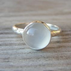 Moonstone and Sterling Ring with Recylced Silver by onegarnetgirl