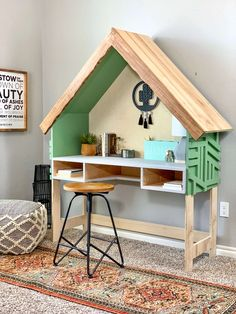 "caixas de madeira ""A modern kid's desk with a house frame all your kids will love."" Check out the full tutorial on how to create a DIY House Frame Kid's desk, complete with a build vi Modern Kids Desks, Desk Dimensions, Diy Home Decor, Room Decor, Kids Decor, Desk Plans, Nightstand Plans, Desk Shelves, Shelving"