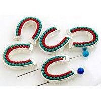 5 silver 2 hole slider beads 11259
