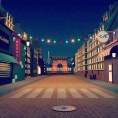 [Paris by Night] Work in progress for télévision show.   #lowpoly #city #paris #maxon #3d #octane #rsa_graphics #thegraphicspr0ject #night #lights #workinprogress #rendering #staffpick