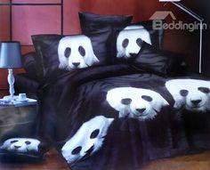 Classic Black and White Panda Print 4 Piece Bedding Sets/Comforter Sets