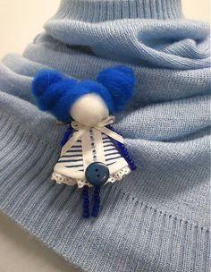 maramanufaktura / brošňa mini MARA /modro-biela-námornícka/
