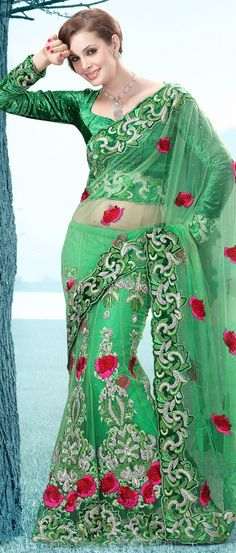 Light #Green Net #Lehenga Style #Saree With Blouse @  $238.64