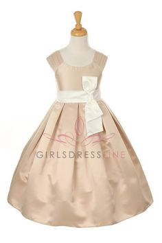 Champagne/Ivory Satin Empire Flower Girl Dress B1087-CI B1087-CI $49.95 on www.GirlsDressLine.Com