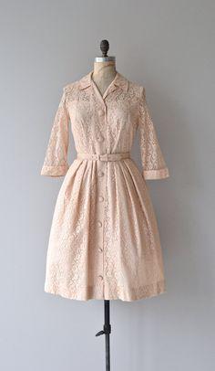 Charmette dress 1950s blush lace dress vintage 50s by DearGolden