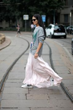 Maxi skirts and sneakers